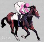 1boy 1other bridle faceless faceless_male grey_background hat highres horse jockey pink_headwear real_life reins riding saddle sketch stirrups takatsuki_nato tokai_teio_(racehorse)