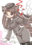 1girl animal_ears bangs black_legwear black_neckwear blunt_bangs blush breast_pocket breasts brown_hair collared_shirt ebifly eyebrows_visible_through_hair fang flower foreshortening glasses gloves grey_headwear grey_jacket hair_flower hair_ornament hat jacket large_breasts long_hair long_sleeves looking_at_viewer miniskirt necktie open_mouth original pantyhose parted_lips perspective pince-nez pocket pointing pointing_at_viewer police police_uniform policewoman shirt skirt solo tail translation_request uniform whistle white_gloves wing_collar