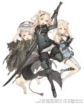 3girls animal_ears asymmetrical_clothes bandages barefoot blonde_hair chain cloak cosplay crossover emil_(nier) emil_(nier)_(cosplay) flower full_body fur_trim hair_flower hair_ornament high_heels highres ji_no kaine_(nier) kaine_(nier)_(cosplay) long_hair looking_at_viewer mask mask_lift multiple_girls nier nier_(series) nier_(young) nier_(young)_(cosplay) official_art pig_ears plump sinoalice skinny square_enix staff sword three_little_pigs_(sinoalice) upper_teeth violet_eyes weapon white_background