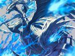blue_eyes blue_fire blurry claws commentary_request fire from_below gen_5_pokemon grey_background legendary_pokemon no_humans pokemon pokemon_(creature) reshiram ririri_(user_rkrv7838) simple_background solo