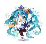 >_< 1girl 1other animal animal_hug aqua_eyes aqua_hair black_legwear blue_jacket blue_skirt blush_stickers boots button_eyes chibi closed_eyes commentary full_body gloves goggles goggles_on_head hatsune_miku holding holding_animal jacket leg_up long_hair looking_at_viewer mao_yu miniskirt open_mouth orange_scarf owl_hat pantyhose rabbit rabbit_yukine scarf shadow ski_goggles skirt smile snowflake_print snowflakes sportswear standing standing_on_one_leg twintails two-tone_jacket very_long_hair vocaloid white_background white_footwear white_gloves white_jacket yuki_miku yuki_miku_(2016)