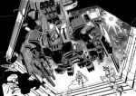 6+others chain_gun floating full_armor_gundam greyscale gundam gundam_thunderbolt highres mecha missile_pod mobile_suit monochrome multiple_others official_art ohtagaki_yasuo science_fiction shoulder_cannon solo_focus spacesuit v-fin zero_gravity