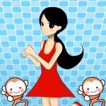 1girl 2others animal black_eyes black_hair blush cute dancing dress flats gawakita girl_(rhythm_heaven) girl_(rhythm_tengoku) human long_hair looking_at_viewer mammal moe monkey monkey_(rhythm_heaven) nintendo ponytail red_dress rhythm_heaven rhythm_tengoku