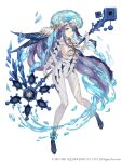 1girl absurdly_long_hair anklet blue_eyes bodysuit breasts fins full_body highres holding holding_staff jellyfish jewelry ji_no long_hair looking_at_viewer ningyo_hime_(sinoalice) official_art ponytail purple_hair sideboob sinoalice skin_tight solo spines square_enix staff very_long_hair water white_background white_bodysuit