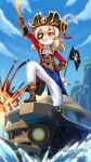 1girl :d ahoge alternate_costume ascot bangs belt blurry boat boots brown_footwear brown_gloves commentary depth_of_field dm_(nguyen_dm95) dodoco_(genshin_impact) epaulettes explosion eyebrows_visible_through_hair eyepatch genshin_impact gloves hair_between_eyes hand_on_hip hat highres hilichurl_(genshin_impact) holding holding_sword holding_weapon klee_(genshin_impact) knee_boots light_brown_hair long_hair looking_afar looking_at_viewer looking_away looking_up open_mouth orange_eyes pirate_costume pirate_hat pointy_ears pose riding sidelocks smile solo sword watercraft waverider_(genshin_impact) weapon wooden_sword