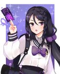 1girl :o black_hair black_skirt black_survival bow bowtie braid crop_top crop_top_overhang hair_between_eyes hair_ornament hand_up high-waist_skirt highres holding hyejin_(black_survival) long_hair long_sleeves looking_at_viewer low_twintails ofuda open_mouth puffy_sleeves retri shirt skirt solo talisman twintails upper_body violet_eyes white_shirt
