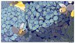 artist_name blue_flower border closed_mouth commentary cutiefly flower flying gen_7_pokemon leaf memorille no_humans pokemon pokemon_(creature) white_border