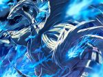 blue_eyes blue_fire blurry claws clouds commentary_request fire from_below gen_5_pokemon legendary_pokemon night no_humans outdoors pokemon pokemon_(creature) reshiram ririri_(user_rkrv7838) sky solo