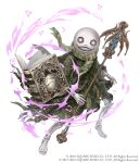 2boys angelic_alphabet book cloak crossover emil_(nier) full_body grimoire_weiss grin holding holding_staff ji_no looking_at_viewer multiple_boys nier nier_(series) official_art scarf sinoalice skeleton skull smile solo square_enix staff white_background