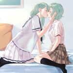 2girls absurdres aqua_hair bang_dream! black_legwear blue_neckwear blush bow brown_skirt closed_eyes commentary_request eyebrows_visible_through_hair hair_bow hand_on_another's_face hands_on_lap highres hikawa_hina hikawa_sayo imminent_kiss incest indoors kneehighs kneeling korean_commentary leaning_forward multiple_girls neckerchief on_bed parted_lips pillow plaid plaid_skirt pleated_skirt purple_shirt purple_skirt school_uniform serafuku shirt shirt_tucked_in short_braid short_hair short_sleeves siblings sisters sitting skirt twincest twins wariza white_shirt yellow_bow yuri zihacheol