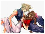 1boy 1girl aerith_gainsborough bangs blonde_hair blue_eyes blue_pants braid brown_hair cloud_strife commission dress final_fantasy final_fantasy_vii from_side green_eyes hair_ribbon highres holding_person long_hair looking_at_another looking_down looking_up pants parted_lips pink_ribbon ribbon sidelocks sleeveless spiky_hair tidus_fair_supertramp turtleneck white_background white_dress