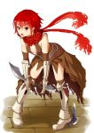 1girl armor armored_boots assassin_cross_(ragnarok_online) bangs black_cape black_gloves black_legwear black_leotard boots breasts cape commentary_request dagger elbow_gloves eyebrows_visible_through_hair full_body gloves hair_between_eyes high_heel_boots high_heels highres holding holding_dagger holding_weapon kneehighs knife kurohachiboku leaning_forward leotard looking_at_viewer open_mouth pauldrons pigeon-toed ragnarok_online red_scarf redhead scarf short_hair shoulder_armor small_breasts solo torn_cape torn_clothes torn_scarf vambraces violet_eyes waist_cape weapon