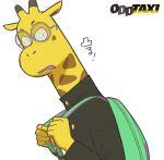 1boy animal_ears black_jacket carrying_bag furry giraffe giraffe_ears glasses green_bag highres jacket looking_at_viewer male_focus mugicaan1 nagashima_satoshi odd_taxi school_uniform solo