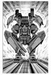 chain_gun full_armor_gundam greyscale gundam gundam_thunderbolt highres leaning_forward mecha missile_pod mobile_suit monochrome no_humans official_art ohtagaki_yasuo science_fiction shield solo v-fin