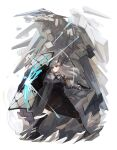 1girl arknights belt black_footwear black_skirt boots chest_strap closed_mouth commentary debris dragon dragon_girl dragon_horns dust_cloud feathers fighting_stance full_body high-waist_skirt highres holding holding_shield holding_weapon horns infection_monitor_(arknights) legs_apart long_hair long_skirt looking_away orange_eyes riot_shield rock saria_(arknights) shield shimasato shirt silver_hair simple_background skirt solo standing syringe_gun weapon white_background white_shirt