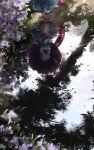 1girl blue_eyes blue_hair blue_skirt flower from_above geta heterochromia highres holding holding_umbrella karakasa_obake long_sleeves medium_hair medium_skirt no_socks open_mouth red_eyes reflection scenery skirt skirt_set smile solo standing tatara_kogasa tongue touhou umbrella ushitsuchi water