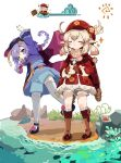 >_< 2girls :d absurdres amulet arm_up backpack bag beach bead_necklace beads black_footwear bloomers boat boots brown_footwear brown_gloves brown_scarf cabbie_hat cape carrying chibi closed_eyes clover_print coat coin_hair_ornament cone crab dodoco_(genshin_impact) full_body gameplay_mechanics genshin_impact gloves hat hat_feather hat_ornament highres holding imagining jewelry jiangshi jumpy_dumpty klee_(genshin_impact) knee_boots kneehighs light_brown_hair long_sleeves low_twintails mary_janes multiple_girls necklace ofuda open_mouth parted_lips pocket pointy_ears purple_hair qing_guanmao qiqi_(genshin_impact) randoseru red_coat red_headwear riding ryu_(17569823) scarf shoes smile sparkle standing standing_on_one_leg stretch stuffed_animal stuffed_toy thigh-highs twintails underwear violet_eyes watercraft white_legwear wide_sleeves xd zettai_ryouiki