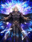 1boy blonde_hair fighting_game floating floating_cape glowing glowing_eyes highres hood igniz_(kof) long_hair male_focus official_art open_arms open_hands outstretched_arms snk solo the_king_of_fighters the_king_of_fighters_2001 the_king_of_fighters_all-stars