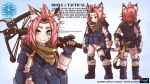 1girl 3: alternate_costume animal_ears artist_name bangs bangs_pinned_back black_footwear black_gloves boots bow_(weapon) bowgun brown_scarf cat_ears cat_girl cat_tail character_name character_sheet chibi clothing_cutout combat_boots commentary compound_bow copyright_name diona_(genshin_impact) english_commentary fingerless_gloves from_behind full_body genshin_impact gloves green_eyes introvert-kun knee_guards long_sleeves looking_at_viewer over_shoulder pink_hair pink_jumpsuit ribbon scarf short_hair sidelocks solo sweat tactical_clothes tail tail_cutout tail_ornament tail_ribbon thick_eyebrows weapon weapon_over_shoulder