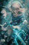 1girl absurdres animal_costume animal_hood blue_eyes blue_hair blue_hoodie blue_theme chmyxo cowboy_shot drawstring fish gawr_gura glowing glowing_weapon highres holding holding_weapon hololive hololive_english hood hoodie long_sleeves looking_at_viewer messy_hair multicolored_hair parted_lips polearm shark_costume shark_hood silver_hair solo streaked_hair teeth trident underwater virtual_youtuber wavy_hair weapon white_hair wide_sleeves