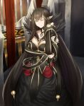 1girl absurdly_long_hair black_dress black_gloves black_hair breasts collarbone commentary_request dress elbow_gloves fate/apocrypha fate/grand_order fate_(series) fur-trimmed_dress fur_trim gloves highres large_breasts long_hair looking_at_viewer one_eye_closed pointy_ears semiramis_(fate) solo suiete very_long_hair yellow_eyes