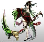 1girl animistic aura bangs bare_shoulders black_footwear black_hair black_headwear black_kimono blush breasts character_request commentary_request curled_horns dark_aura facial_mark fang full_body gears gradient gradient_background green_hair grey_background hair_between_eyes hat high_heels highres holding holding_scythe horns itamidome japanese_clothes kimono long_legs long_sleeves looking_at_viewer mini_hat multicolored_hair nail_polish off_shoulder official_art parted_lips red_nails scythe shoes small_breasts smile snake_hair solo standing tail two-tone_hair watermark white_background wide_sleeves