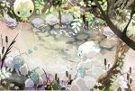 altaria alternate_color commentary_request day drifloon flower gen_3_pokemon gen_4_pokemon highres kamonabe_(kamonabeekon) leaf no_humans outdoors pokemon pokemon_(creature) rock shiny_pokemon stream swablu traditional_media tree_branch water watercolor_(medium) white_flower