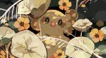 absurdres bird black_eyes bright_pupils closed_mouth commentary_request flower gen_7_pokemon highres kamonabe_(kamonabeekon) looking_at_viewer no_humans oricorio oricorio_(pom-pom) pokemon pokemon_(creature) solo white_pupils yellow_flower