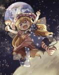 1girl :d american_flag_dress american_flag_legwear bangs blonde_hair clownpiece dress earth_(planet) eyebrows_visible_through_hair fairy_wings full_body hat highres holding holding_torch jester_cap long_hair looking_at_viewer moon open_mouth outdoors outstretched_arms pink_eyes planet polka_dot_headwear purple_headwear rokugou_daisuke short_sleeves smile solo space star_(sky) star_(symbol) star_print striped striped_dress striped_legwear torch touhou transparent_wings wings