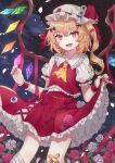 1girl :d ascot bandaged_leg bandages bandaid bandaid_on_knee bangs black_bow blonde_hair bow clothes_lift clouds cloudy_sky crossed_bandaids crystal dutch_angle eyeball eyebrows_visible_through_hair eyes fangs flandre_scarlet flat_chest flower frilled_shirt_collar frills from_below hair_bow hair_ornament hat hat_bow highres lifted_by_self light_blush looking_at_viewer medium_hair mob_cap nail_polish night night_sky nokoki_(motioko5) one_side_up open_mouth petals petticoat puffy_short_sleeves puffy_sleeves red_bow red_eyes red_flower red_nails red_ribbon red_rose red_skirt red_vest ribbon rose short_sleeves skirt skirt_lift sky smile solo sparkle standing touhou vest white_bow white_flower white_headwear white_rose wings wrist_cuffs x_hair_ornament yellow_neckwear
