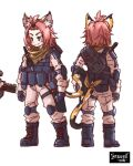 1girl alternate_costume animal_ears backpack bag bangs bangs_pinned_back black_footwear boots bulletproof_vest cat_ears cat_girl cat_tail character_sheet combat_boots commentary_request diona_(genshin_impact) from_behind full_body genshin_impact green_eyes highres introvert-kun knee_guards looking_at_viewer pink_hair pink_jumpsuit pocket ribbon short_hair sidelocks simple_background smile solo tactical_clothes tail tail_ornament tail_ribbon white_background