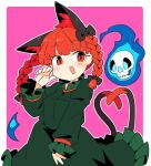 1girl :d animal_ears bangs black_bow border bow braid cat_ears cat_tail cowboy_shot dress extra_ears frilled_dress frills green_dress hair_bow hitodama ini_(inunabe00) kaenbyou_rin long_sleeves looking_at_viewer multiple_tails nekomata open_mouth pink_background red_eyes redhead side_braids simple_background slit_pupils smile solo standing tail touhou twin_braids two_tails white_border