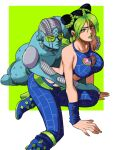 1girl bare_shoulders black_hair braid breasts double_bun foot_out_of_frame green_eyes green_hair green_lips highres jojo_no_kimyou_na_bouken kujo_jolyne large_breasts looking_at_viewer multicolored_hair parted_lips shadow sleeveless solo stand_(jojo) stone_free stone_ocean tina_fate two-tone_hair