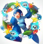 1boy :o artist_name blue_footwear clenched_hand diamond_(gemstone) flaming_skull full_body helmet junk leaf mega_man_(character) mega_man_(series) poroi_(poro586) robot running shouting solo star_(symbol) white_background