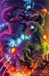 absurdres axe battle battle_axe bioluminescence city claws clouds fangs fire giant gloves glowing glowing_eyes godzilla godzilla_(2014) godzilla_(legendary) godzilla_(series) godzilla_vs_kong gorilla highres holding holding_axe holding_weapon kaijuu king_kong king_kong_(series) kong:_skull_island matt_frank monster monsterverse no_humans open_mouth scales science_fiction sharp_teeth sky smoke spikes spines tail teeth weapon