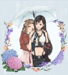 2girls aerith_gainsborough arm_guards black_hair bow bracelet brown_eyes crop_top cropped_jacket dress elbow_gloves final_fantasy final_fantasy_vii final_fantasy_vii_remake fingerless_gloves flower gloves green_eyes hair_bow hands_on_another's_shoulders highres jacket jewelry long_hair low-tied_long_hair multiple_girls n_nagon navel pink_dress red_jacket smile stomach suspenders tifa_lockhart umbrella