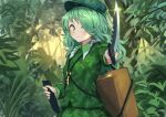 backpack bag camouflage camouflage_headwear camouflage_shirt camouflage_skirt flat_cap green_eyes green_hair hat jungle key_necklace knife medium_hair nature roke_(taikodon) sheath shirt skirt touhou yamashiro_takane