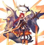 1girl arknights bare_shoulders collar demon_girl demon_horns dress high_heels highres holding holding_weapon horns kneehighs long_hair looking_at_viewer molten_rock pixerite redhead solo spiked_collar spikes surtr_(arknights) sword weapon