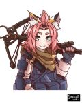 1girl 3: alternate_costume animal_ears bangs bangs_pinned_back black_gloves bow_(weapon) bowgun brown_scarf bulletproof_vest cat_ears commentary_request compound_bow diona_(genshin_impact) fingerless_gloves genshin_impact gloves green_eyes highres introvert-kun looking_at_viewer over_shoulder pink_hair pink_jumpsuit pocket scarf short_hair sidelocks simple_background solo sweat thick_eyebrows weapon weapon_over_shoulder white_background