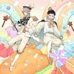2boys :d black_hair blue_eyes brown_footwear brown_hair cape clenched_hand crown dessert doughnut epaulettes food fruit glasses hat highres holding holding_wand macaron male_focus marshmallow mini_crown monsterz_mate multiple_boys official_art open_mouth pants pink_eyes pocket_square shirt short_hair smile strawberry sweets two-tone_cape wand white_footwear white_headwear white_legwear white_shirt yuu_(higashi_no_penguin)