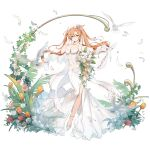 1girl artist_request bangs bird black_surge_night bouquet breast_squeeze breasts bridal_veil clothing_cutout dove dress enterprise_(black_surge_night) feathers flower gloves green_eyes hair_between_eyes holding holding_bouquet large_breasts leaf long_hair navel navel_cutout official_art orange_flower orange_hair pink_flower red_flower rose solo strapless strapless_dress thigh_strap tiara transparent_background tulip twintails veil wedding_dress white_dress white_flower white_footwear white_gloves