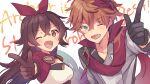1boy 1girl amber_(genshin_impact) commentary_request genshin_impact highres shirase_(shirose) tartaglia_(genshin_impact)