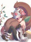 1girl animal_ears black_legwear blush brown_hair hat highres looking_at_viewer ponytail princess_connect! rin_(princess_connect!) shimon_(31426784) squirrel_ears squirrel_girl squirrel_tail tail violet_eyes