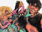 2boys battle_tendency black_gloves blonde_hair blue_gloves brown_hair caesar_anthonio_zeppeli clenched_teeth clothes_grab commentary_request facial_mark fangs feather_hair_ornament feathers fighting fingerless_gloves furrowed_brow gloves hair_ornament hand_on_another's_face headband jojo_no_kimyou_na_bouken joseph_joestar kasyuna1225 male_focus multiple_boys open_mouth pink_scarf pointing pointing_at_another pushing_away pushing_face scarf short_hair teeth triangle_print wrist_grab