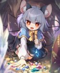 +_+ 1girl :d animal_ears bangs blue_capelet blurry blurry_background blurry_foreground bow bowtie brown_footwear capelet cave commission crystal dowsing_rod dress eyebrows_visible_through_hair grey_dress grey_hair highres holding jewelry kneeling kozakura_(dictionary) long_sleeves mouse_ears mouse_tail nazrin open_mouth pendant red_eyes short_eyebrows short_hair skeb_commission smile socks solo tail touhou treasure white_legwear yellow_bow yellow_neckwear