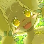 1other :3 ancesra animal_ears artist_name backlighting blush blush_stickers body_fur brown_fur colored_eyelashes commentary_request dutch_angle english_commentary face fangs forehead from_below furry green_background hands_up happy highres horizontal_pupils light_blush looking_at_viewer made_in_abyss mixed-language_commentary nanachi_(made_in_abyss) open_mouth other_focus partial_commentary rabbit_ears smile solo speech_bubble straight-on teeth translated upper_body watermark whiskers white_hair yellow_eyes