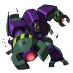 1boy decepticon glowing highres jeetdoh looking_ahead lugnut mecha no_humans one-eyed punching science_fiction signature solo transformers transformers_animated white_background