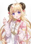 1girl absurdres ahoge animal_ears bag bangs blonde_hair blush bow bow_choker cardigan choker commentary_request eyebrows_visible_through_hair hair_ornament hairclip high-waist_skirt highres hololive horns long_hair long_sleeves looking_at_viewer open_cardigan open_clothes open_mouth pinstripe_pattern pinstripe_shirt red_bow red_choker sailor_collar sheep_ears sheep_girl sheep_horns shiroraku shirt shoulder_bag simple_background skirt sleeves_past_wrists solo striped tsunomaki_watame upper_body violet_eyes virtual_youtuber white_bow white_cardigan white_sailor_collar white_shirt
