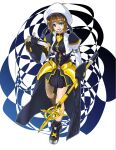 1girl armor armored_dress black_gloves blue_eyes blue_ribbon blue_skirt boots breasts brown_hair cropped_jacket fingerless_gloves gloves hair_ornament hat highres looking_at_viewer lyrical_nanoha magical_girl mahou_shoujo_lyrical_nanoha mahou_shoujo_lyrical_nanoha_strikers medium_breasts pleated_skirt ribbon short_hair skirt smile solo sougetsu_izuki waist_cape white_background x_hair_ornament yagami_hayate