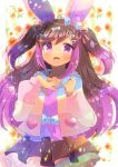 1girl :d animal_ear_fluff animal_ears bangs blue_bow bow brown_hair brown_skirt character_request commentary_request eyebrows_visible_through_hair gradient_hair hair_between_eyes hands_up hood hood_down hooded_jacket indie_virtual_youtuber jacket kouu_hiyoyo layered_skirt long_hair looking_at_viewer multicolored_hair open_clothes open_jacket open_mouth pink_hair pleated_skirt puffy_short_sleeves puffy_sleeves purple_bow purple_shirt rabbit_ears shirt short_sleeves skirt smile solo star_(symbol) two_side_up very_long_hair violet_eyes virtual_youtuber